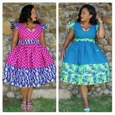 Plus size African Fashion Seshweshwe and African Print mix gathered dress. Ankara gathered dress.