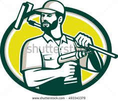 Illustration of a handyman with beard moustache facial hair holding paint roller on shoulder and cordless drill looking to the side set inside oval shape on isolated background done in retro style.  #handyman #retro #illustration