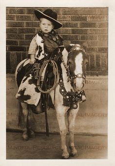 Lil' Cowboy Toddler on Pony Vintage Photo Western Printable Digital Download Old West Snapshot Baby Horse Rider Photograph by mindfulresource