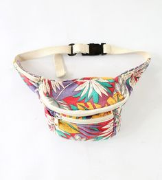 Vintage 80s Tropical Print Canvas Fanny Pack // VAUX VINTAGE