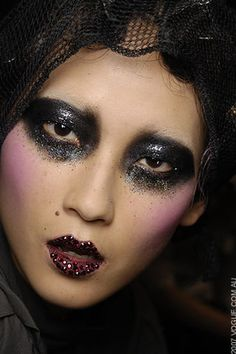 Glittery goth makeup. Sugar skull. Halloween beauty makeup. Day of the dead inspiration.