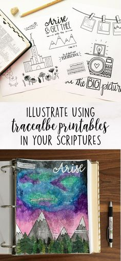 learn how to create beautiful illustrations in your Book of Mormon or Bible using traceables Scripture Doodle, Scripture Study, Bible Art, Scripture Journal, Book Of Mormon Scriptures, Mormon Book, Bullet Journal Inspiration, Journal Ideas, Study Journal