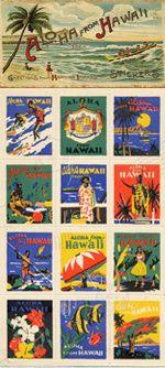 "Vintage ""Aloha From Hawaii""Stickers"