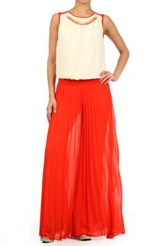 Red Color Blocked Sleeveless Jumpsuit With Wide Legs Round Neck