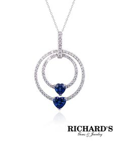 Two Heart Shaped Sapphire and Diamond Pendant in 18K White Gold