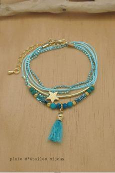 Bracelet multi rangs bleu turquoise et doré