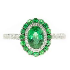 Color 18K White Gold Oval Emerald & Diamond Ring