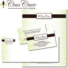 Chez Cheri Home Staging  Our Role:    - Logo / Brand Development and Design  - Business Cards  - Letterhead and Envelope  - Website   www.ChezCheri.ca
