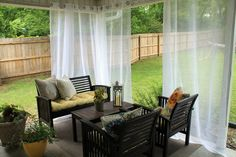 Porch Remodeling Ideas Extraordinary : Porch Remodeling Ideas Extraordinary With Black Wooden Chairs And Black Small Wooden Table Design And White Curtains Modern
