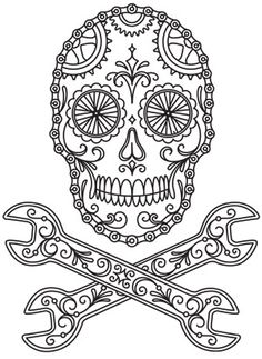 All about art tattoo studio rangiora. Printable Adult Coloring Pages, Coloring Pages To Print, Coloring Book Pages, Sugar Skull Tattoos, Sugar Skull Art, Sugar Skulls, Sugar Skull Stencil, Tattoo Painting, Totenkopf Tattoos