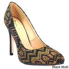 Chase and Chloe Sandra-2 Women's Almond Toe Stiletto High Heel With Woven Detailed ( Multi-7.5)