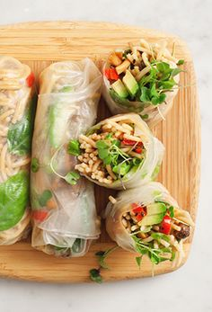 Avocado and Peanut Noodle Spring Rolls
