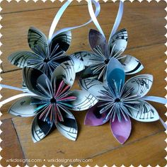 Diy recycled paper flower gift bows gift wrapping ideas music note ornaments recycled paper flower ornaments set of 4 eco friendly holiday stocking stuffers mightylinksfo Choice Image
