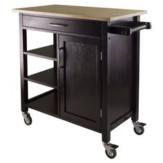 Winsome Mali Kitchen Island with Wood Top