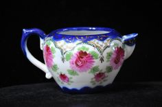 Beautiful Vintage Creamer, Blue, cabbage roses, Cobalt Blue, Antique, wonderful gift idea, #1415