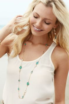 12k Gold & Epoxy Stone Long Layering Necklace | Pippa Necklace | Stella & Dot