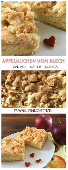 Apfelkuchen vom Blech mit Streuseln (einfaches Rezept)Simple recipe for apple pie from the tin with sprinkles. This sheet cake with apples and batter is wonderfully juicy and stays fresh for a long time. Here is the baking recipe: www. Apple Pie Recipes, Ice Cream Recipes, Baking Recipes, Cookie Recipes, No Bake Desserts, Dessert Recipes, Easy Smoothie Recipes, Pumpkin Spice Cupcakes, Food Cakes