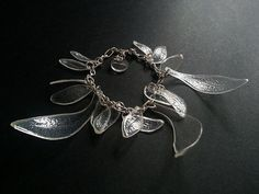 Upcycled eco bracelet / ICY LEAFS COLLECTION by ekoista on Etsy, $32.00