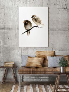 Aves acuarela marrón gorrión Natural Home Decor por ColorWatercolor