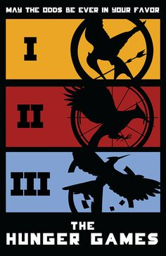 The Hunger Games. Catching Fire. Mockingjay.  I just now noticed that the second one looks exactly like the arena...