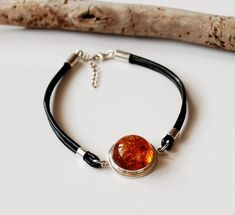 Cognac Baltic Amber And Genuine Leather Bracelet, Amber Cuff Bracelet, Gold Amber Modern Jewelry, Amber And Sterling Silver Bracelet