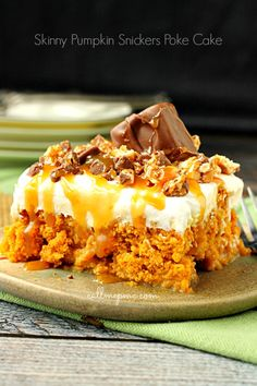 Skinny Pumpkin Snickers Poke Cake with Whipped Cream Frosting - very simple, quick recipe. Skinny and regular ingredient options given
