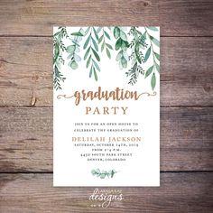 Greenery Senior Graduation Announcement, Senior Graduation Invite, Senior Graduation Party Invitation, Grad Party, Botanical –Delilah by LarissaKayDesigns on Etsy https://www.etsy.com/listing/601395557/greenery-senior-graduation-announcement