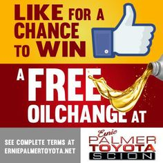 Chance to Win a Free Oil Change from Ernie Palmer Toyota | Ernie Palmer Toyota Blog