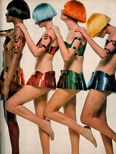 Dutch-boy wigs and polished metal turnouts by Courrèges, photo by Bert Stern, Vogue 1969
