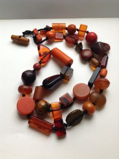 Jackie Brazil Sobral Resin Beaded Necklace, Autumn colors, Amber orange resin handmade beads, retired, layaway available, egst, Greece by GirlyStuffByDeJaVu on Etsy