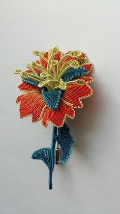 macrame-etc: fantasy flower pin