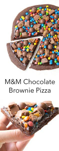 M&M Chocolate Brownie Pizza - the best dessert pizza recipe | Sweetest Menu