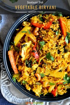 An easy Instant Pot recipe for Vegetable Biryani, a classic Indian dish made with assorted vegetables & basmati rice, flavored with herbs, spices & saffron. Vegetarian Biryani, Vegetable Biryani Recipe, Vegetable Recipes, Vegetarian Recipes, Rice Recipes, Vegetable Entrees, Vegetarian Dinners, Veggie Food, Recipies