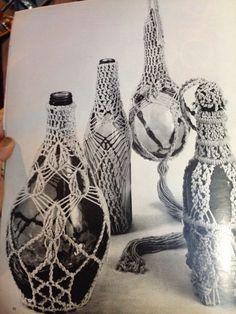 Vintage macrame bottle holders