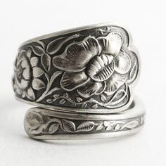 Antique Wild Flower Ring, Sterling Silver Spoon Ring, Wedding Ring Alternative, Handmade Gift, Botanical Jewelry, 925 Adjustable Size (6616) by Spoonier on Etsy