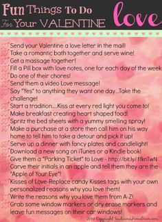 Get creative with these 30 Fun and creative things to do with your #Valentine! FREE Printable! sewlicioushomedecor.com