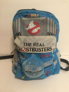 The Real Ghostbusters Zipper Pocket Backpack with Two Side Pockets and Front Vtg | eBay