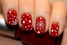 Red Snowflake Nails Love love love this!