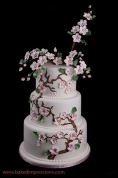 Top 15 Wedding Cake Designs For Spring – Cheap Easy Project For Unique Party D. - Happy In My Special Day - Kuchen Wedding Cake Images, Round Wedding Cakes, Themed Wedding Cakes, Wedding Cake Designs, Themed Cakes, Cherry Blossom Cake, Cherry Blossom Wedding, Cherry Blossoms, Pretty Cakes