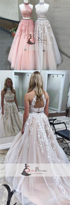 2 Pieces Lace Tulle Prom Dresses, Lovely Open Back Halter Prom Dresses, Dresses for Prom, PD0393 #Sofiebridal #promdresses