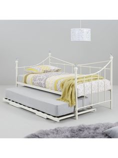 Ruby Day Bed With Trundle - Bed With Fold-Away Trundle And 2 Microquilt Mattresses - Ivory - Pop Up Trundle, Disposal Services, Bunk Beds Built In, Metal Beds, Home Insurance, Daybed, Bed Frame, Toddler Bed