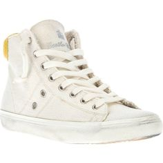 Leather Crown High Top Trainer ($213) ❤ liked on Polyvore featuring shoes, sneakers, chaussures, zapatos, white hi tops, yellow sneakers, white shoes, white sneakers and closed toe shoes