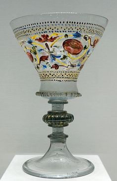 Stem glass. Gilt and enameled blown cristallo glass, Venice, late 15th–early 16th century.  (More Venetian glassware - http://commons.wikimedia.org/wiki/Category:Venetian_glassware)