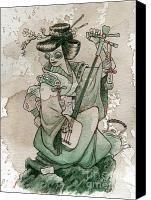Japan Painting - Samisen by Brian Kesinger Steampunk Illustration, Illustration Art, Japan Painting, Female Character Design, Steampunk Clothing, Sale Poster, Types Of Art, Japanese Art, Art For Sale