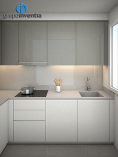 Equipped kitchen: Kitchens of Grupo Inventia style Grey Kitchen Designs, Kitchen Room Design, Luxury Kitchen Design, Kitchen Cabinet Design, Kitchen Sets, Living Room Kitchen, Interior Design Kitchen, New Kitchen, Kitchen Decor