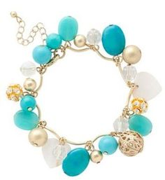 Turquoise And Gold Multi Charm Droplet Bracelet from Debenhams was £ 8 now £ 5