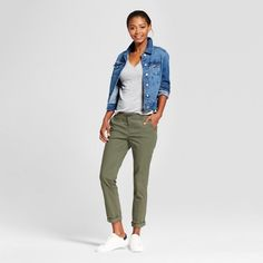 Women's Straight Leg Slim Chino Pants - A New Day™ : Target - Something like this in navy or grey for Israel that will go with tennis shoes. Olive Chinos, Green Chinos, Olive Green Jeans, Green Pants, Khaki Pants, Joggers Outfit, Pants For Women, Clothes For Women, Straight Leg Pants