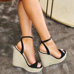 Gold High Heel Sandals, Shoes Heels Wedges, High Heels, Summer Wedges, Summer Wedge Sandals, Black Wedges, Black Wedge Shoes, Dream Shoes, Sock Shoes