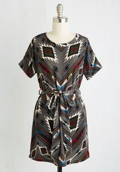 Gallery crawl the evening away in this southwestern-inspired tunic! Burgundy, forest, cornflower, black, and white hues accent this sash-tied shirt, appealing to art admirers with all interests. Confidently clad in this chic, knit top, you expertly showcase your aesthetic savvy!