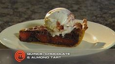Chocolate, Quince and Almond Tart - 2011 Masterchef - master class recipe by guest chef Maggie Beer Gourmet Recipes, Dessert Recipes, Cooking Recipes, Desserts, Masterchef Australia, Cooking With Beer, Almond, Sweet Treats, Favorite Recipes
